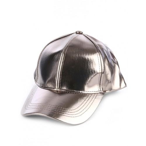 METALLIC VINYL ADJUSTABLE BASEBALL  HAT AND CAP (GRAY)