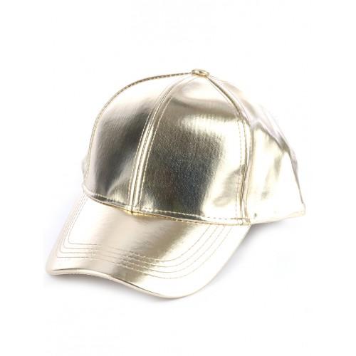 METALLIC VINYL ADJUSTABLE BASEBALL  HAT AND CAP (GOLD)