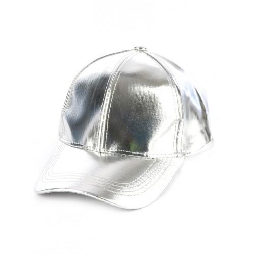 METALLIC VINYL ADJUSTABLE BASEBALL  HAT AND CAP (SILVER)