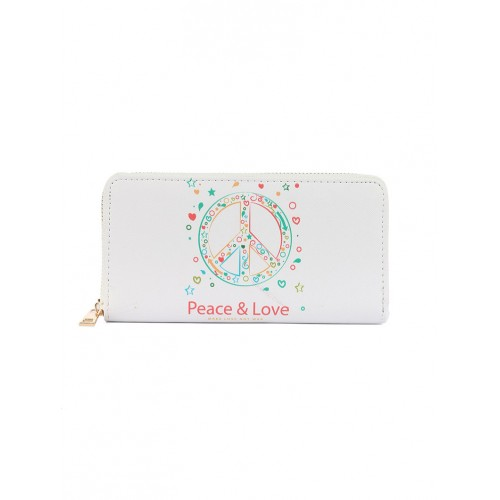 PEACE SYMBOL PRINT VINYL CLUTCH WALLET