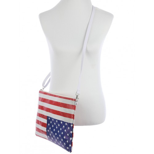 STARS AND STRIPES PRINT VINYL CROSSBODY CLUTCH