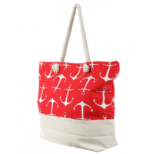 ANCHOR PRINT JUMBO BEACH TOTE BAG ACCESSORY