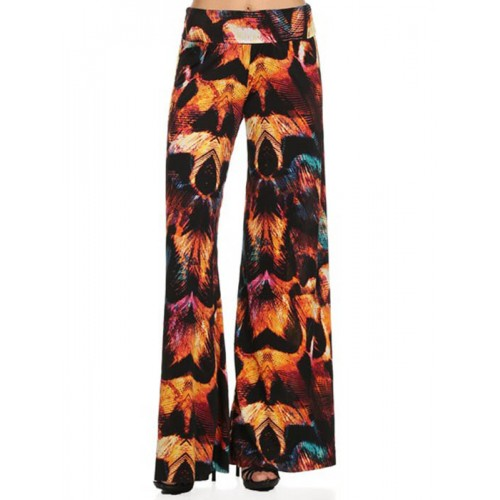 FLAMING LEAVES PRINT PALAZZO PANTS APPAREL