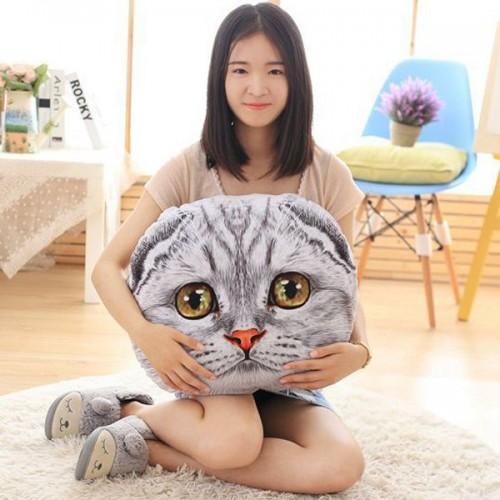 Cute 3D Big Eyes Nekolus Shape Plush Cartoon Pillow - Gray