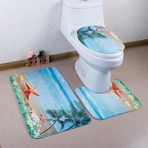 3Pcs Antislip Sea Toilet Lid Cover & Bath Mats - Lake Blue