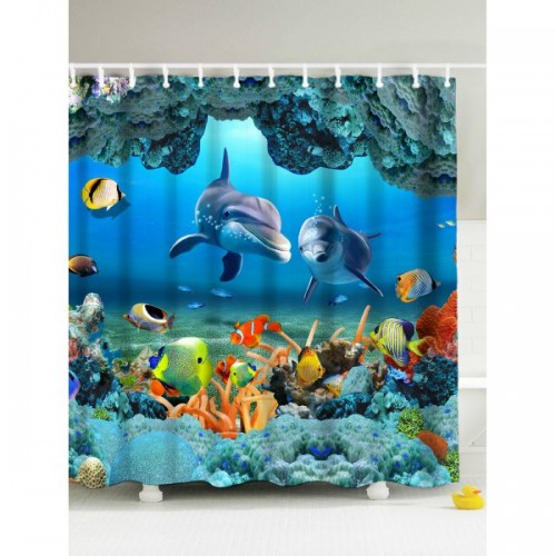 3D Underwater World Fish Shower Curtain