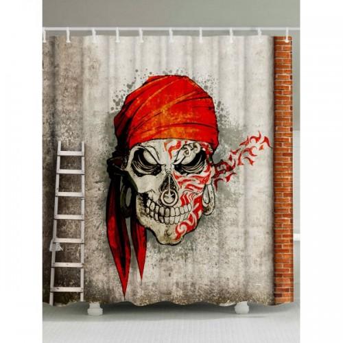 Skull Pirate Street Art Print Waterproof Shower Curtain - W59inch*l71inch