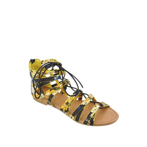 Floral Print Tie Up Pattern Flat Gladiators-id.33067d