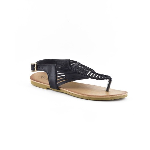 Chic open-toe thong sandal features basket-weave