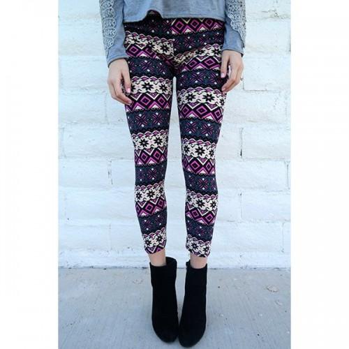 Chic Geometrical Print Color Block Skinny Leggings For Women