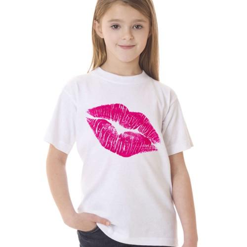 Girl Summer Wear Short Sleeve T Shirt Girls Sexy Red Lip TShirt 2017
