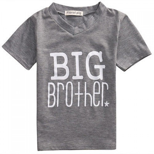Big/Little Brother Family Matching Clothes Newborn Infant Kids Short Sleeve Cotton T-shirt Tops Outfits Baby Boy Clothes