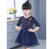 Children Girls clothes summer dress for gilrs Dots print Mesh tutu Ball gown princess dress 3 4 5 6 7 8 9 10 11 12 years old 34