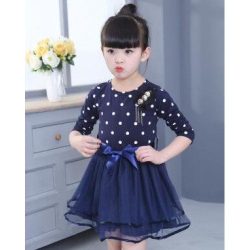 Children Girls Clothes Summer Dress For Gilrs Dots Print Mesh Tutu