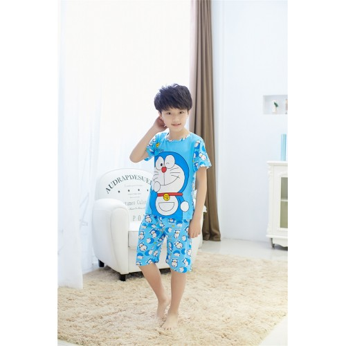 Height:100-140CM Summer Cotton Knitted Unisex Children Pajamas Sets Character Boys Sleepwear O-Neck Kid Pyjamas For Girls CC0097