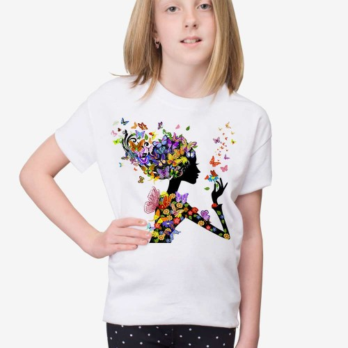 New big Girls Outfits Tops short sleeve O-neck butterfly print animal T-shirt Kids girl Tee Shirt for Children 6 7 8 9 10 11 12