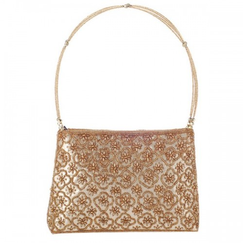 Trendy Solid Color and Beading Design Evening Bag For Women - Golden