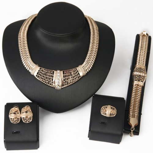 Hollow Out Jewelry Set(Necklace+Bracelet+Earrings+Ring)For Women - Golden
