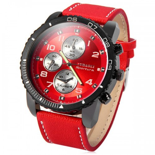 Jubaoli Leather Band Male Quartz Watch with Rotatable Bezel Decorative Sub-dials - Red