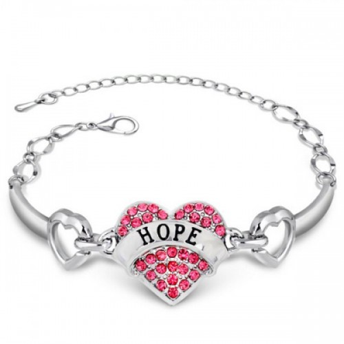 Rhinestone Engraving HOPE Heart Bracelet For Women - Red