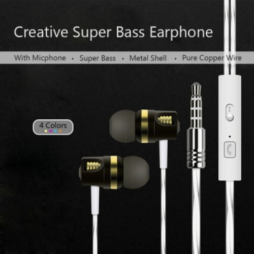 Metal 3.5mm Super Bass Headphones Stereo Earphones With Micphone for Samsung iPhone MP4 MP3 iPod