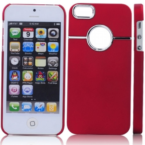 Rubberized Hard Plastic Protective Case Back Case for iPhone 5 - Red