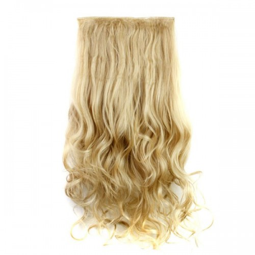 Fashion 23 Inch Long Curly Clip-In Heat Resistant Synthetic Hair Extension For Women - 27and613#