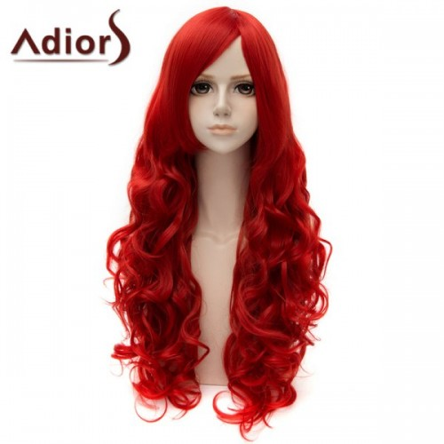 Fashion Side Bang Long Curly Cosplay Wig For Women - Red
