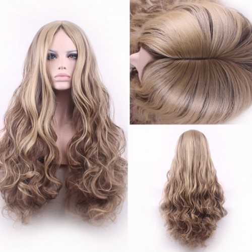 Bouffant Curly Long Synthetic Trendy Light Blonde Mixed Brown Middle Part Cosplay Wig For Women