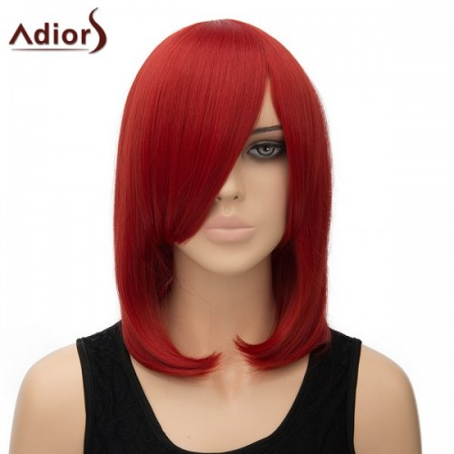 Fashion Inclined Bang Straight High Temperature Fiber Adiors Women's Cosplay Wig - Red