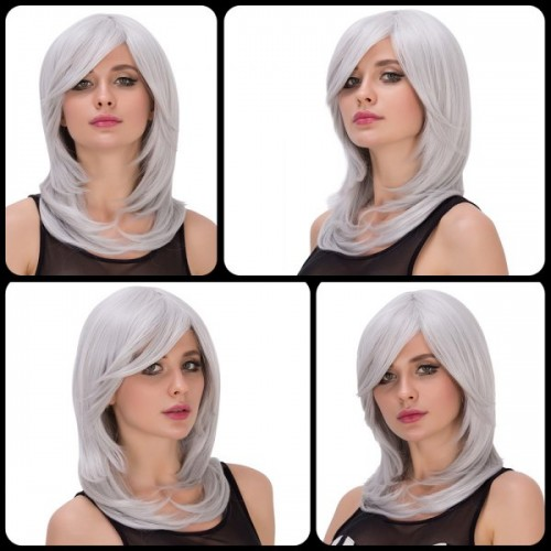 Endearing Medium Side Bang Silver White Layered Tail Adduction Cosplay Lolita Synthetic Wig