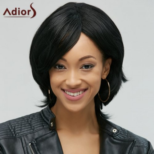 Adiors Stylish Black Side Bang Synthetic Natural Straight Wig