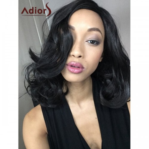 Adiors Medium Curly High Temperature Fiber Wig - Black