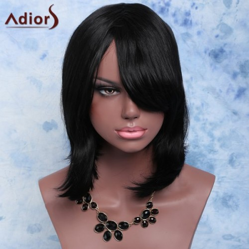 Adiors Medium Inclined Bang Natural Straight Synthetic Wig