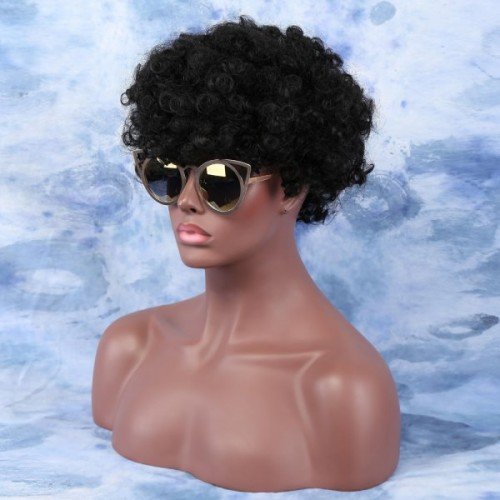 Short Fluffy Afro Curly Side Bang Synthetic Capless Wig - Black