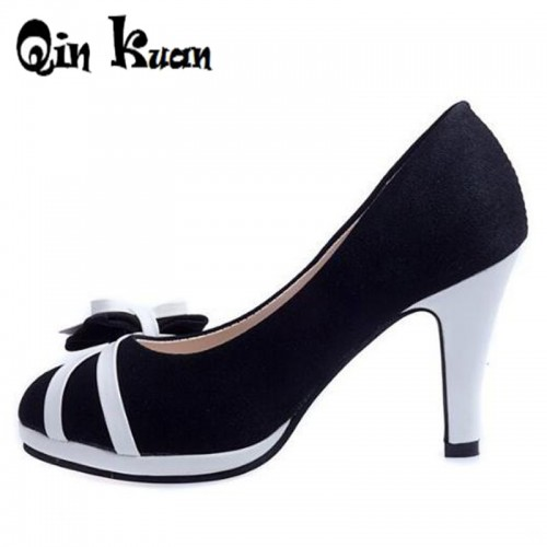 Qin Kuan New Women High Heels Ladies Office Shoes Spring Women Pumps Bowtie Women Heels Round Toe Stiletto Shoes Size 34-39