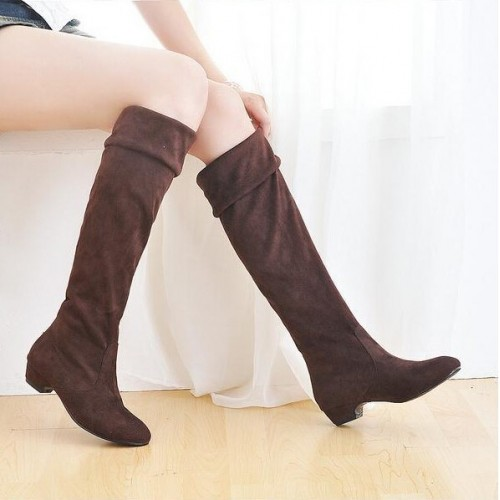 HEE GRAND Fashion Women Knee-high Long  Med Heel Slip-on Casual Boots