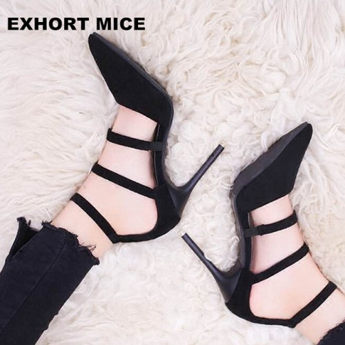 2017 High Heels Pumps thin High Heels Pointed Toe Fashion Ladies Shoes 10cm T-tied