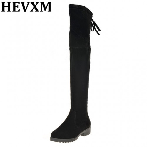 HEVXM 2016 Sexy Thigh High Boots Over The Knee Thick Heels Women  Boots