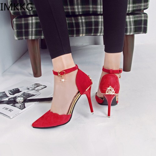 2017 women pumps high heel sexy pointed toe rhinestone metal decoration shoes women new fashion girls princess shoes g002