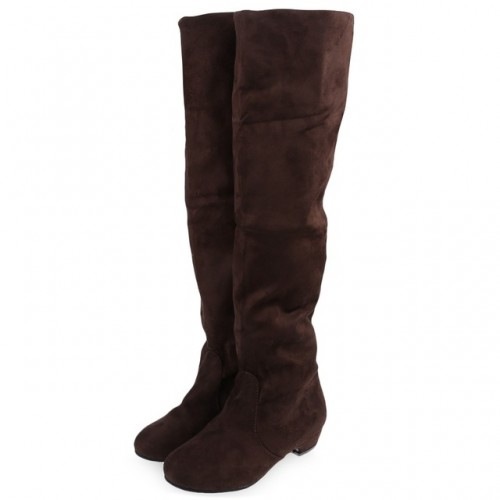 Sexy Ladies Slip On Slim Fit Stretch Solid Suede Knee High Boots