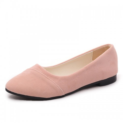 2016 New Suede fashion women's flat shoes big yards Spring and Autumn solid color ballet flats