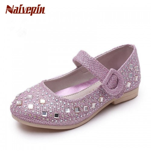 2017 Children Princess Glitter Sandals Kids Girls Shoes Square Heels Dress Shoes Party Shoes
