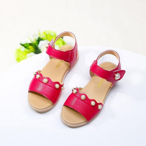 2017 New Children shoes fashion girls princess baby pearl sandals Summer Kids beach sandals 3 colors Hot Sale
