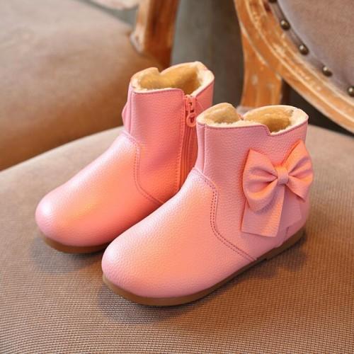 Velvet Plus Princess Ankle Solid Zipper Bowtie Fur Martin Snow Boots
