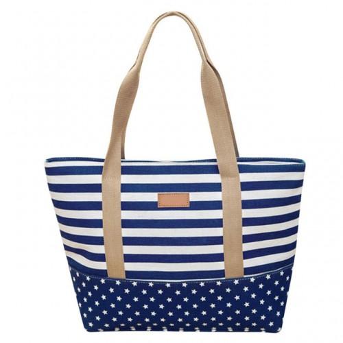 Striped Canvas Handbag Women Bag Blocking Patchwork Shoulder Bag