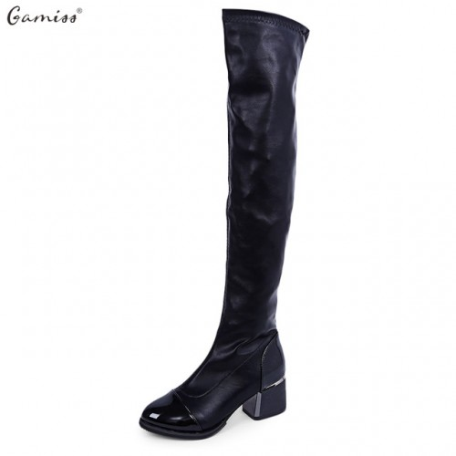 GAMISS Sexy Black Soft PU Leather 5.5cm Squar Heel Knee Length High Boots