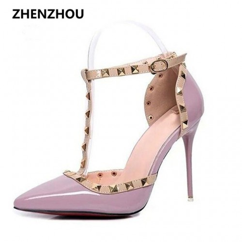 HOT Pumps 2017 Women's shoes Summer style fashion female sandals rivet Metal decoration pu leather style women high heels