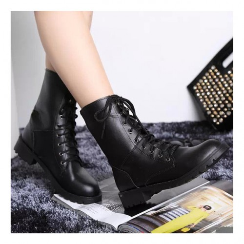 Fashion Women Boots Classic Square Heel PU Lace-Up Martin Motorcycle Boots