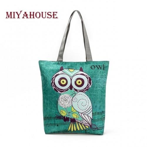 Miyahouse Cute Owl Printed Women's Casual Tote Large Capacity Canvas Female Shopping Bag Ladies Shoulder Handbag Beach Bag